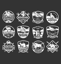 Animals and wild fowl hunting club badges vector