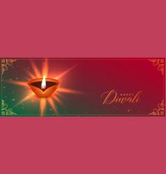 Auspicious diwali festival banner with diya design vector