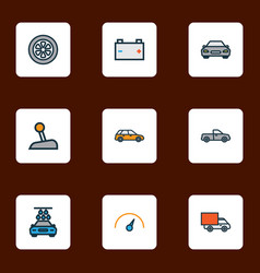 auto icons colored line set with battery wheel vector image