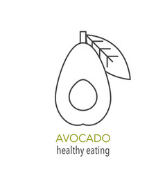 avocado line icon healthy eating vector image