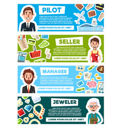 Banners for professions occupation vector