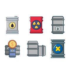 Barrel icon set cartoon style vector