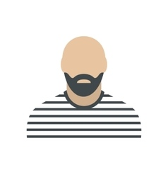 Bearded man in prison garb flat vector image