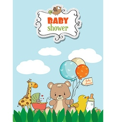 Beautiful baby shower card vector image