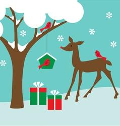 birdhouse and deer vector image