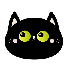 black cat round head face icon green eyes pink vector image