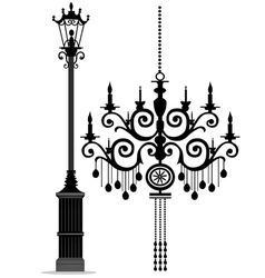 black chandelier vector image