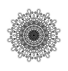 Black silhouette flower mandala vintage decorative vector