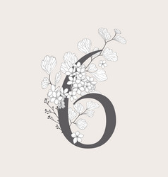 Blooming floral number 6 monogram and logo vector