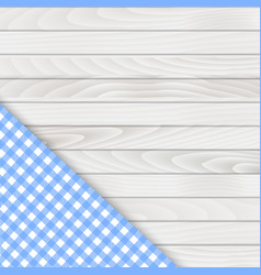 blue corner tablecloth on white wood table vector image