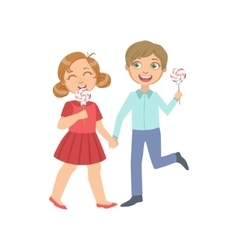 Boy And Girl On A Date Eating Candy vector image