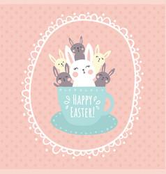 bunnies in a cup vector image