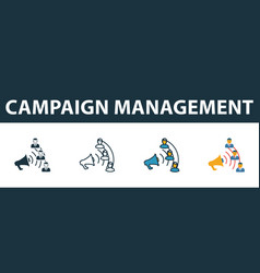 campaign management icon set premium symbol in vector image
