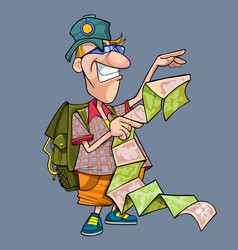 cartoon funny tourist with backpack vector image
