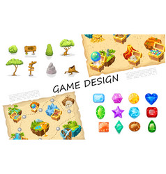 cartoon game elements collection vector image