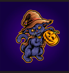 cat halloween scary pumpkins witch zombie vector image