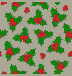 christmas background holly berry with green vector image