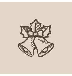 Christmas bells sketch icon vector