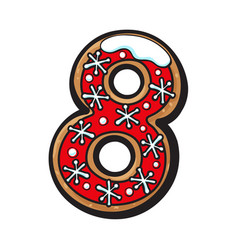 Christmas gingerbread cookie - eight 8 number vector