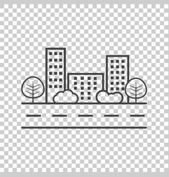 city in flat style building tree and shrub on vector image