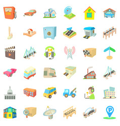 City station icons set cartoon style vector
