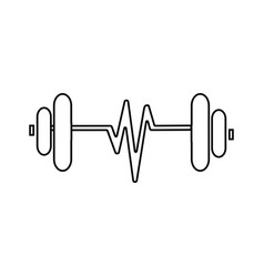 contour sketch dumbbell with symbol life vector image