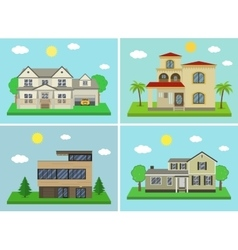 Cottage house building set Flat design style vector image