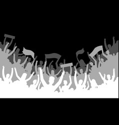 crowd silhouette background soccer fan people vector image
