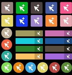 Cursor arrow plus add icon sign Set from twenty vector image