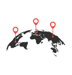 Curved world map with red pins vector