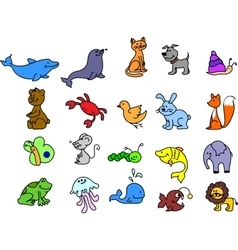 Cute cartoon icon set vector image vector image