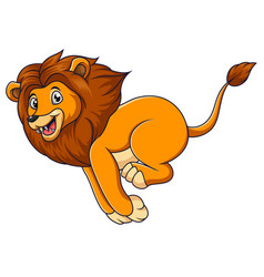 cute lion cartoon running on white background vector image