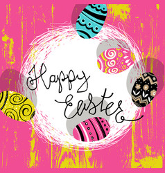 easter eggs in nest bright colors easter vector image