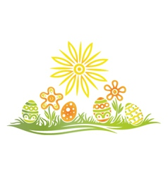 Easter meadow eggs vector
