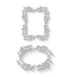 Elegant paper retro floral frame set Hand drawn vector image