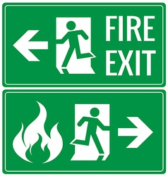 Emergency fire exit door signs vector