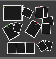 Empty photo frames attached with pins set vector