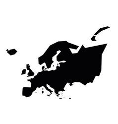 Europe black silhouette contour map continent vector