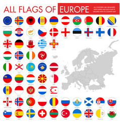 Europe countries round flag buttons vector