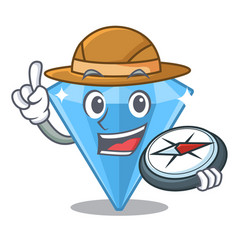 Explorer sapphire gem in a mascot box vector