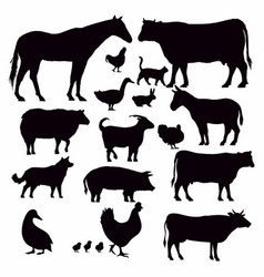 farming animal silhouette vector image