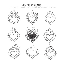 fired heart set vector image