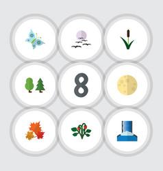 Flat icon bio set of cascade canadian monarch vector