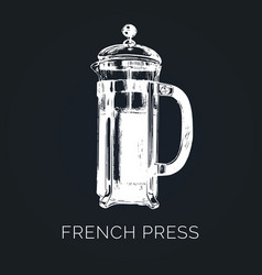 French press hand sketched vector