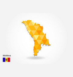 geometric polygonal style map of moldova low poly vector image