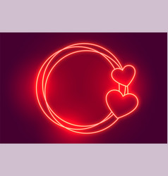 Glowing red neon hearts frame with text space vector