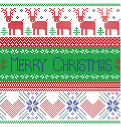 Green blue and red Scandinavian merry christmas vector image