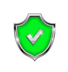 green shield sign accept 3d symbol isolated on vector image