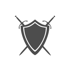 grey icon shield and two crossed swords vector image
