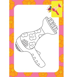 Hair dryer toy coloring page copy vector